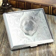 Silver Etched Metal Cigar Cigarette Case Box Container Pocket Holder Cotain 20