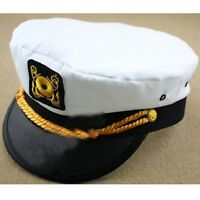Men & Women's White Yacht Captain Skipper Sailor Boat Cap Hat Costume CTY