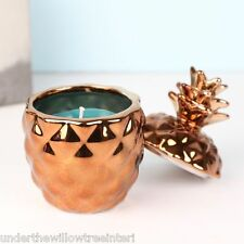 Mini Copper Pineapple Scented Candle Jar Retro Kitsch Table Deco Tropical