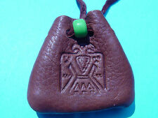 Thunderbird Branded Leather Medicine Pouch Buckskin Necklace Medicine Bag 1045