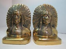 RARE Early 1900 Native American Indian Chief Brass Bookends WD Allen Chicago USA