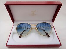 VINTAGE CARTIER 2X SAPPHIRE 55MM BLUE GRADIENT SUNGLASSES 18K GOLD PLATED FRANCE
