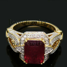 4.72CT Solid 18K Yellow Gold Genuine Natural Brilliant Diamond Blood Ruby Ring