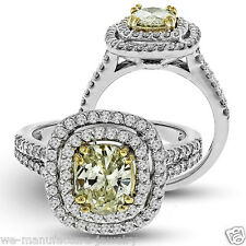 2.60 Carats Double Halo Diamond Ring Oval Fancy Yellow Diamond 14K White Gold