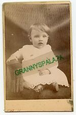 CDV Photo - Baby Sitting in Chair - Button Up Boots - Gown & Big Bright Eyes