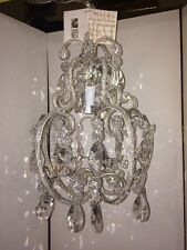 """New! """"Square Nest"""" Silver Clear Glass Swag Plug-in One Light Bulb Chandelier"""
