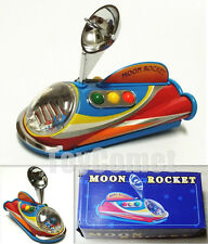 MS353 Moon Rocket Push Along 12cm Vehicle Collectors Retro Tin Toy w/Box