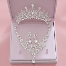 Bridal Crown+Necklace+Earring Set Crystal Formal Wedding Tiara Hair Accessories