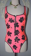 Vintage Hot Pink Zipper Front Flower Neon Bathing suit Totally 80's RETRO 14 WOW