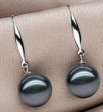 new pairs 10mm real black shell pearl silver hook earring AAA+