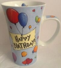 Large Coffee Mug, Happy Birthday, Flowers. Com 6 inches, balloons