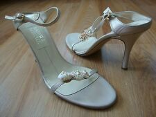 BADGLEY MISCHKA FLORAL SHELL LEATHER HEELS SANDAL SIZE 37.5 EU 7 US  $395