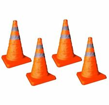 """4 x 18"""" Pop Up Collapsible Portable Safety Cone Football Traffic Posts Driving"""