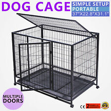 "37"" Dog Cage Crate Kennel Portable Pet Puppy Carrier Heavy Duty Metal"