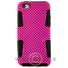 Apple iPhone 5C/i5C/Lite Hybrid Mesh Case Hot Pink Cover Shell Protector Guard