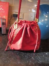 "Bright Red Gold Accents ESCADA Evening Pouch Drawstring Bag Braided 8"" x 8"" x 4"""
