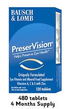 Bausch & Lomb Preservision 480 Compresse 4 mesi di fornitura Integratori vitaminici AMD