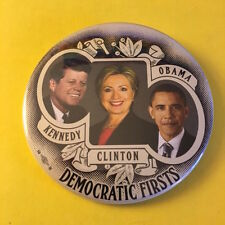 """Hillary Clinton """"Democratic Firsts"""" 3 Inch Political Campaign Pin Button"""