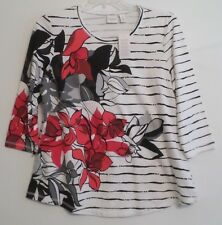 NWT!-CHICO'S 3/4 SLEEVE COTTON TEE/TOP-SZ 3(L/XL)-BLACK/WHITE/RED-STRIPED-NICE!