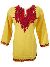 BOHEMIAN HIPPY GYPSY COTTON TUNIC TOP YELLOW EMBROIDERED SHORT KURTI BLOUSE S