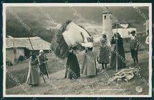 Belluno Cortina d'Ampezzo Raccolta Fieno Costumi Foto cartolina QT1246