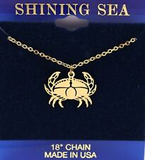 """* CRAB CHARM and 18"""" Chain Necklace * Gold Tone * Brand New *"""
