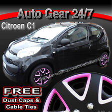 "Citroen C1 14"" inch Matt Black Pink Wheel Trims Hub Cap Covers +Dust Caps + Ties"