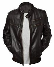 New Mens Enzo Genuine Sheep-Skin Bomber Rib Biker Handmade Real Leather Jacket