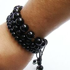 3 Men's bracelets Black glass 6mm 8mm 10mm beads