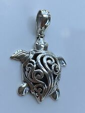 Balinese / Indonesian Turtle 925 Sterling Silver Pendant Jewelry #054