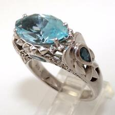 Modernist Sterling Silver Blue Topaz Accent Cocktail Ring Size 8