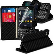 Blackberry Q20 Classic Black Carbon Wallet Flip / Case Stand & Screen Protector