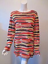 M Missoni ITALY Multi Color Stripe Crew Neck MOD Knit Tunic Sweater 48 (L)