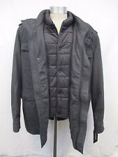 Men's 2XL Guess Charcoal Wool Jacket with Puffer Bib MSRP $265 M13