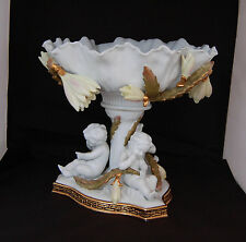 MOORE BROS. 19TH CENTURY ART COMPOTE CHERUBS WITH APPLIED CACTUS FLOWERS