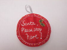 Santa por favor, deje aquí Rojo Árbol De Navidad Para Colgar bordado En Mostacilla Motif # 19a103