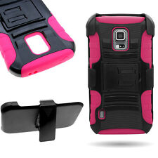 For Samsung Galaxy S5 Active - Belt Clip Holster Case Hot Pink + Black Cover