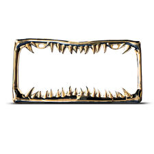 GOLD SHARK TOOTH HEAVY DUTY License Plate Frame Tag Border GOLD JAWS TEETH