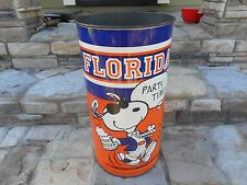 "* Rare * Vintage 1971 Florida Gators Football "" Dorm ""Snoopy Peanuts Trash Can"