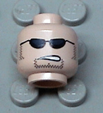 LEGO - Minifig, Head w/ Sunglasses Partially Open Mouth, Sideburns & Stubble