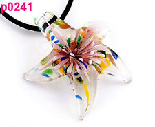 Starfish flower ONE Murano Lampwork glass beaded Pendant necklace HS241