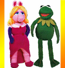 "LOVELY 15"" KERMIT & 19"" MISS PIGGY DOLLS.TOYS TO KNIT   KNITTING PATTERN"