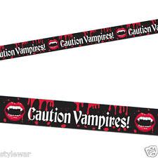 New Vampire Bite Blood Halloween Party Caution Tape Streamer Banner Roll 20ft 6m
