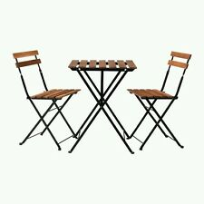 Patio Table Outdoor Brown Garden Furniture Set 2 Chairs Backyard Balcony Deck