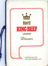 "DINNER MENU FOR THE DAY BOVRIL LAUNCHED ""KING BEEF"" - WITH HENRY COOPER, NO LESS"
