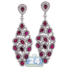 18K White Gold 7.24 ct Ruby Diamond Womens Chandelier Earrings 2""