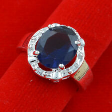 Jewelry Fashion  925 silver Sapphire wedding ring size 6 gift for women N340-6