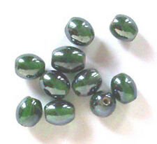 12 of: 10x8mm oval lustered glass beads, dark green, for jewellery making etc