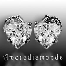 1.4 ct F SI2 natural heart shape diamond solitaire studs earrings 18k white gold