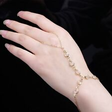 Crystal Beads Chain Bracelet With Finger Ring Metal Bohemian Charms Evening